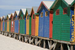 Funky colored beach huts Royalty Free Stock Image