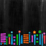 Funky colorful border. On black distressed background with copyspace Royalty Free Stock Photography