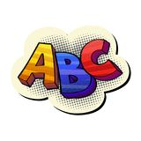 Abc pop-art sticker. Funky colorful pop art style sign ABC isolated on white stock illustration