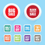 Funky colorful sale and other special offer badges Royalty Free Stock Images