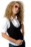 Funky Cool. A cool young woman with great hair wearing sunglasses Royalty Free Stock Image