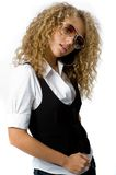 Funky Cool. A cool young woman with great hair wearing sunglasses Stock Photography