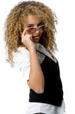 Funky Cool. A cool young woman with great hair wearing sunglasses Stock Photo