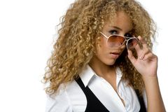Funky Cool. A cool young woman with great hair wearing sunglasses Stock Photos
