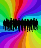 Funky crowd. Illustration of people in front of a colorful background Stock Photo