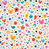 Funky cute cartoon retro note book paper pattern Stock Image