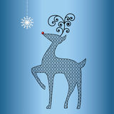 Funky cutout pattern reindeer. With coil antlers and red nose Stock Image