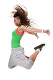 Funky dancer jumping with knees bent Stock Photo