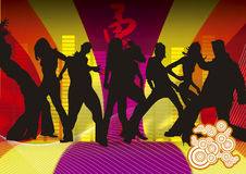 Funky dancers. Silhouettes of people dancing on retro background Royalty Free Stock Photo