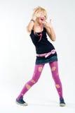 Funky dansend punkmeisje Stock Afbeelding