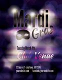 Funky dark Mardi Gras flyer template Royalty Free Stock Photo