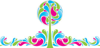 Funky decor with tree. Color funky decor with tree Royalty Free Stock Photography
