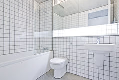 Funky designer bathroom in a warehouse conversion. Funky retro contemporary bathroom in a warehouse conversion apartment with large bath tub, ceramic hand wash stock photos