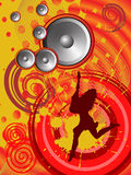 Funky disco girl. Vector illustration of a female silhouette on an abstract party background Royalty Free Stock Photography