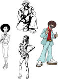 Funky disco people. Some funky looking 70s types royalty free illustration