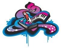 Funky DJ. Character pattern design vector illustration