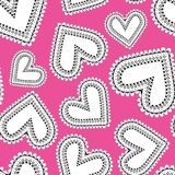 Funky doodle scatter hearts on pink background stock photos