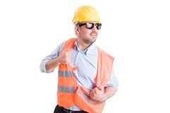 Funky engineer dancing Stock Image