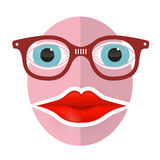Funky Face with Big Mouth and Glasses. Abstract Funky Face with Big Mouth and Glasses Royalty Free Stock Photos