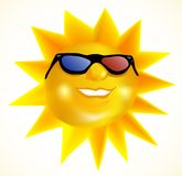 Funky fashionable sun wearing 3d spectacles Royalty Free Stock Images