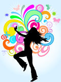 Funky female. Silhouette of a funky female on a bright coloured abstract background Stock Photo