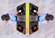Funky female dj pattern Royalty Free Stock Photos