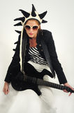 Funky female guitarist islated Royalty Free Stock Images