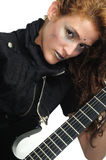 Funky female playing guitar Royalty Free Stock Photos