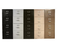 Funky Files. Funky collection of vintage metal file cabinets Stock Photo