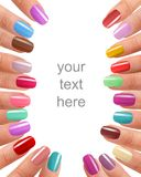 Funky fingers nail polish Royalty Free Stock Images
