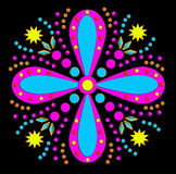 Funky flower. A fun floral design with a colorful funky pattern on black (clip art, postcards, decoration, web, labels vector illustration