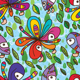 Funky flower mascot fly sky seamless pattern Royalty Free Stock Photo