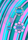 Funky flowers. Psychedelic flower design with bright turquoise blue and pink curved stripes overlaid with flowers Royalty Free Stock Photography