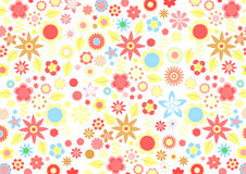 Funky flowers. Vector illustration of multicolored funky flowers and leaves retro pattern on white background Royalty Free Stock Photos