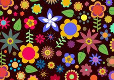 Funky flowers. Vector illustration of multicolored funky flowers abstract pattern on black background Royalty Free Stock Photography