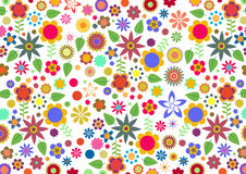 Funky flowers and leaves abstract pattern. Vector illustration of multicolored funky flowers and leaves abstract pattern on white background Royalty Free Stock Images
