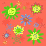 Funky flowers tile vector illustration