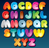 Funky Font. Multicolored Cartoon Font. Set of Isolated Symbols for your Design Royalty Free Stock Images