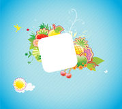 Funky frame. Vector illustration of funky styled design frame made of floral and fruity elements Stock Photography