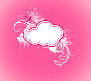 Funky frame. Vector illustration of funky retro styled design pink frame made of floral elements Royalty Free Stock Image