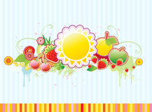 Funky frame. Vector illustration of funky styled design frame made of floral and fruity elements Royalty Free Stock Photo