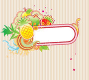 Funky frame. Vector illustration of funky styled design frame made of floral and fruity elements Stock Images