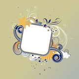 Funky frame. Vector illustration of retro funky styled design frame made of floral elements and stars Stock Photography