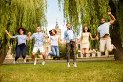 Funky, freedom, students, friendship, summer concept. Six happy stock image