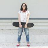 Funky Fresh Hipster Enjoyment Skateboarding Concept Stock Image