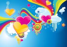 Funky gestileerde valentijnskaartachtergrond Stock Afbeeldingen