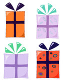 Funky gifts. Set of four funky wrapped gifts Stock Photos