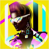 Funky girl with a geometric shapes background. A punk hairstyle and sunglasses, create this beauty and fashion scene. Retro look perfect for fun projects. 3d Royalty Free Stock Photo
