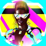 Funky girl with a geometric shapes background. A punk hairstyle and sunglasses, create this beauty and fashion scene. Retro look perfect for fun projects. 3d Stock Image