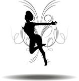 Funky Girl Silhouette Royalty Free Stock Photos